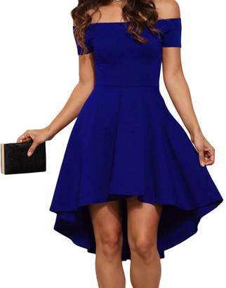 Eiffel Store Eiffel Women's Off Shoulder High Low Hem A-line Evening Party Skater Dress