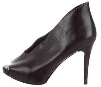 Neiman Marcus Leather Platform Booties