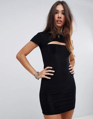 Motel Halloween bodycon dress in velvet stripe with cut out detail