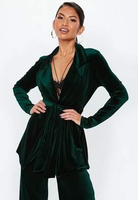 Missguided Tall Green Velvet Longline Co Ord Blazer