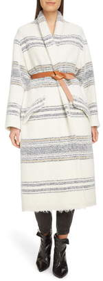 Etoile Isabel Marant Faby Stripe Wool Blend Coat