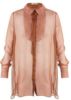 Valentino Semi Sheer Silk Chiffon Blouse - Womens - Nude