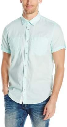 Calvin Klein Jeans Men's Short Sleeve Roll Tab Double Pocket Button Down Shirt, White