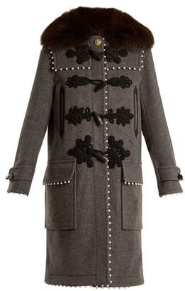 Altuzarra Gardano Faux Pearl Embellished Wool Coat - Womens - Dark Grey