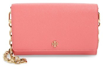 Women's Tory Burch 'Robinson' Leather Wallet On A Chain - Pink