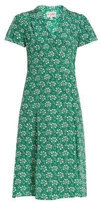 HVN Morgan garden-print silk dress