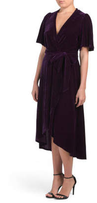 Velvet Faux Wrap Midi Dress