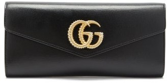 Gucci Broadway Gg Plaque Leather Clutch Bag - Womens - Black