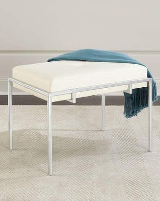 John-Richard Collection John Richard Collection Metal and Leather Ottoman, Silver