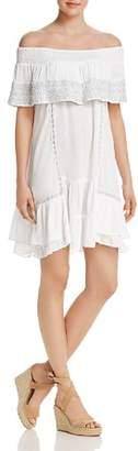 Muche et Muchette Gavin Embroidered Off-the-Shoulder Ruffle Dress Swim Cover-Up