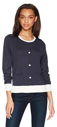 Pendleton Women's Contrast Crew Neck Cardigan Sweater
