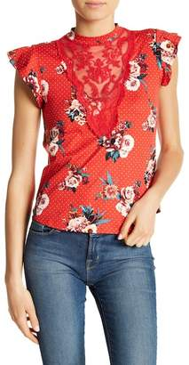 Sweet Rain Apparel Floral Polka Dot & Lace Accent Tee