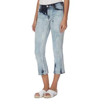 Faded Blue Selena Mid Rise Boot Cut Cropped Stretch Jeans