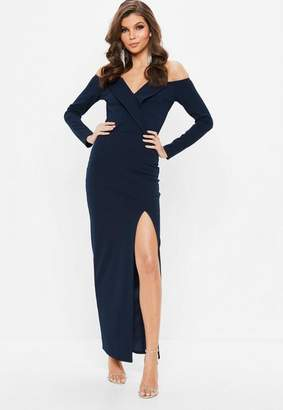 Missguided Navy Foldover Bardot Maxi Dress