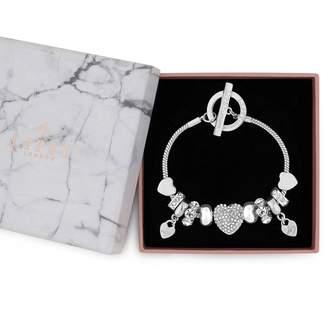 Jon Richard Jewellery Silver Pave Crystal Heart Charm Bracelet