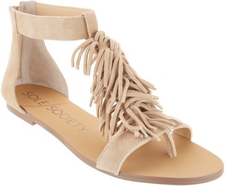 Sole Society Suede Fringe Flat Sandals - Koa