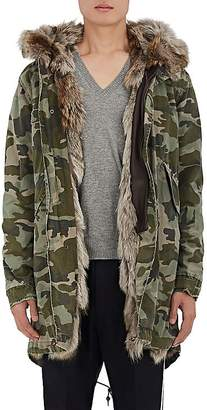 Mr & Mrs Italy Men's Fur-Lined Camouflage Cotton Canvas Parka