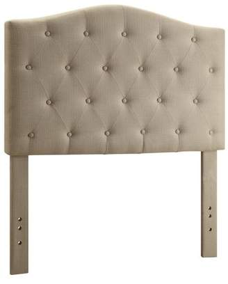 WHI Button Tufted Fabric Adjustable Double/Queen Headboard, Natural Linen