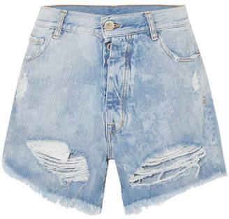 Unravel Project - Cloudy Distressed Denim Shorts - Light denim