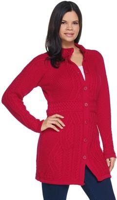 Aran Craft Merino Wool Long Cardigan with Belt Stitching