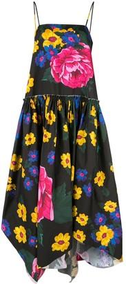 Marques Almeida Marques'Almeida flared asymmetrical dress with giant flower