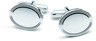 Engine-turned oval cuff links in sterling silver