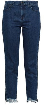 7 For All Mankind Cropped Mid-Rise Slim-Leg Jeans