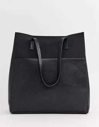 Pieces Louise contrast leather shopper bag