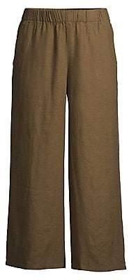 Eileen Fisher Women's Organic Linen Wide-Leg Cropped Pants