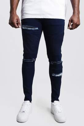 Big & Tall Skinny Fit Ripped Biker Jeans