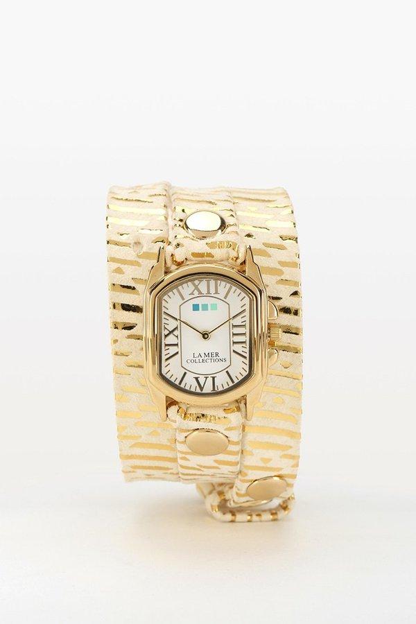 La Mer Cream Print Wrap Watch