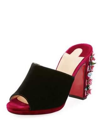 Christian Louboutin Donaflor Velvet Platform Red Sole Slide Sandal