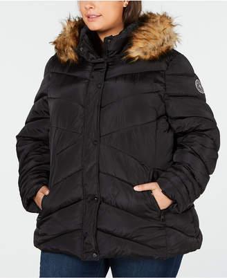 Madden-Girl Juniors' Plus Size Faux-Fur-Trim Hooded Puffer Coat