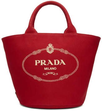 Prada Red Canvas Logo Tote