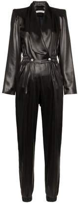 Philosophy di Lorenzo Serafini V-neck buttoned faux leather jumpsuit