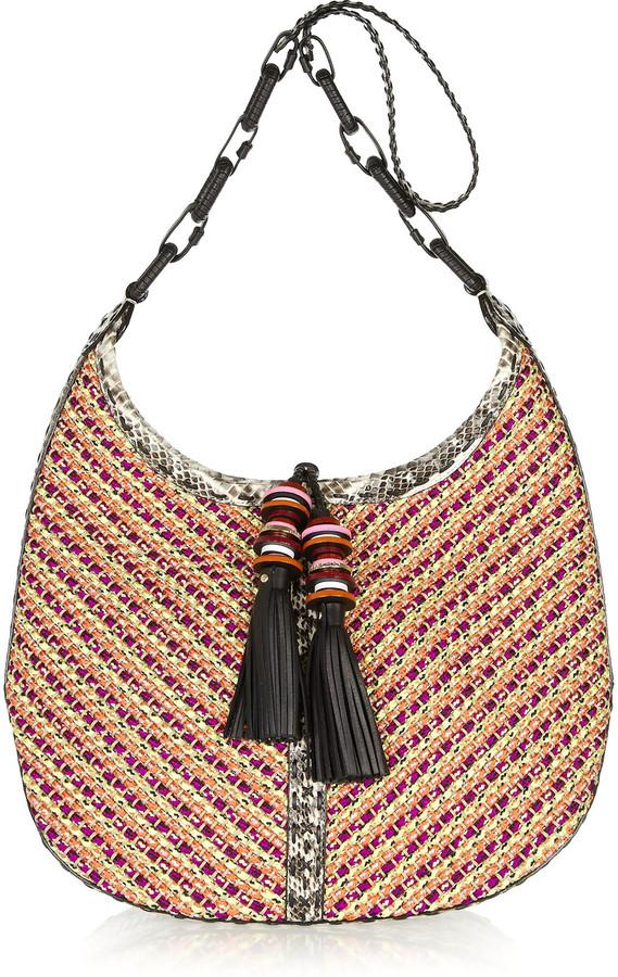 Jimmy Choo Lara elaphe-trimmed woven cord shoulder bag