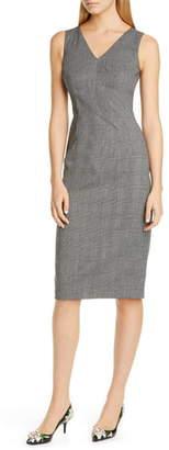 Dolce & Gabbana Glen Plaid Stretch Wool Sheath Dress