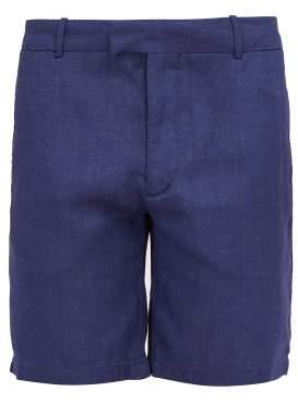 Frescobol Carioca Tailored Linen And Cotton Blend Shorts - Mens - Navy
