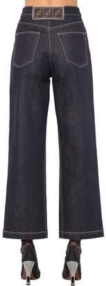 Fendi Cropped Wide Leg Cotton Denim Jeans