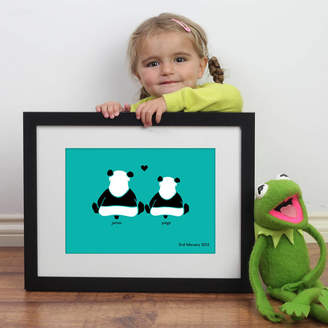 Wall Art Personalised Significant Date With Two Loving Pandas