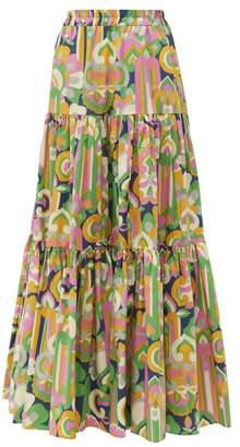 La DoubleJ Abstract Print Tiered Cotton Maxi Skirt - Womens - Multi