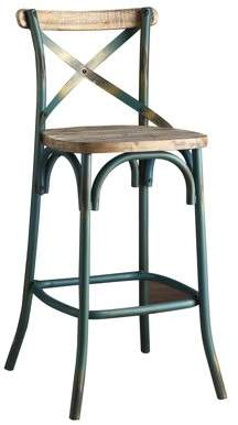 "ACME Furniture ACME Zaire 29"" Industrial Metal Bar Chair in Antique Turquoise"