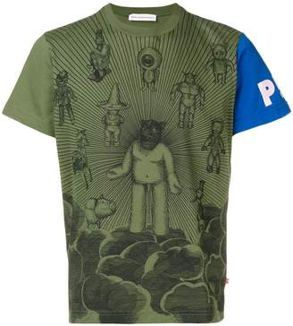 Walter Van Beirendonck contrast sleeve printed T-shirt