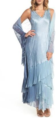 Women's Komarov Embellished Long A-Line Dress $458 thestylecure.com