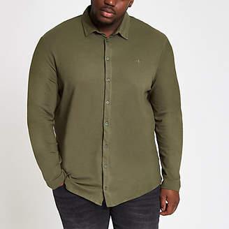 River Island Big and Tall dark green button down shirt