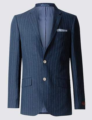 Marks and Spencer Pure Linen Striped Tailored Fit Jacket