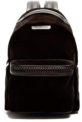 Stella McCartney Falabella Go Medium Velvet Backpack - Womens - Black