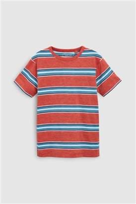 Next Boys Coral Textured Stripe T-Shirt (3-16yrs)