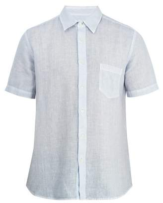 120% Lino Short Sleeved Linen Shirt - Mens - Light Blue