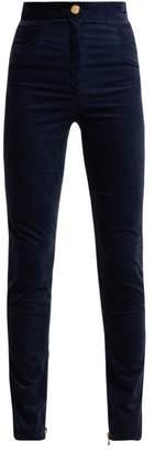 Balmain Cotton Blend Velvet Trousers - Womens - Dark Blue